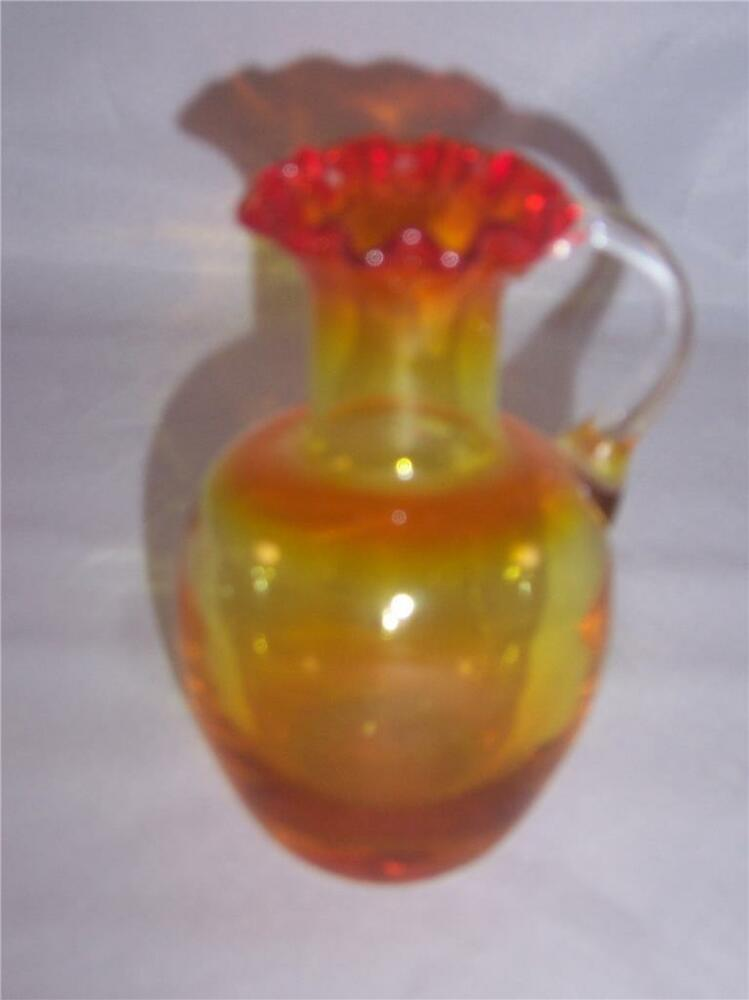Small Hand Blown Orange Red Glass Pitcher With Ruffle Rim Very Good Condition Ebay