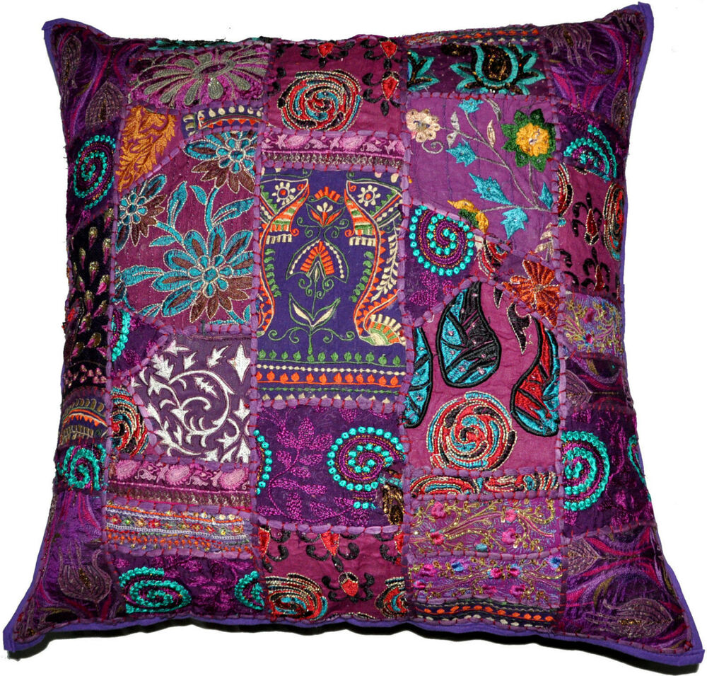 On sale 24x24 indian patchwork pillow coverpurple for Sofa cushion covers 24x24