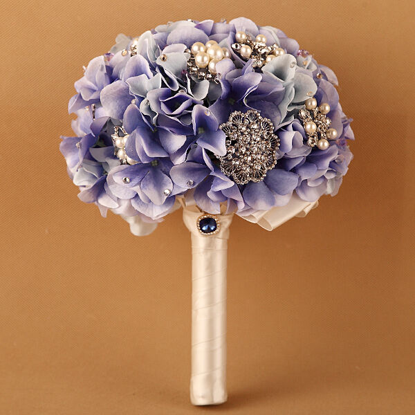 wedding bouquets with bling luxury light purple hydrangea rhinestone brooches 8537