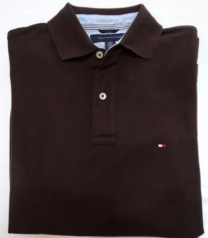 Tommy Hilfiger New Mens Polo Shirt Brown Short Sleeve
