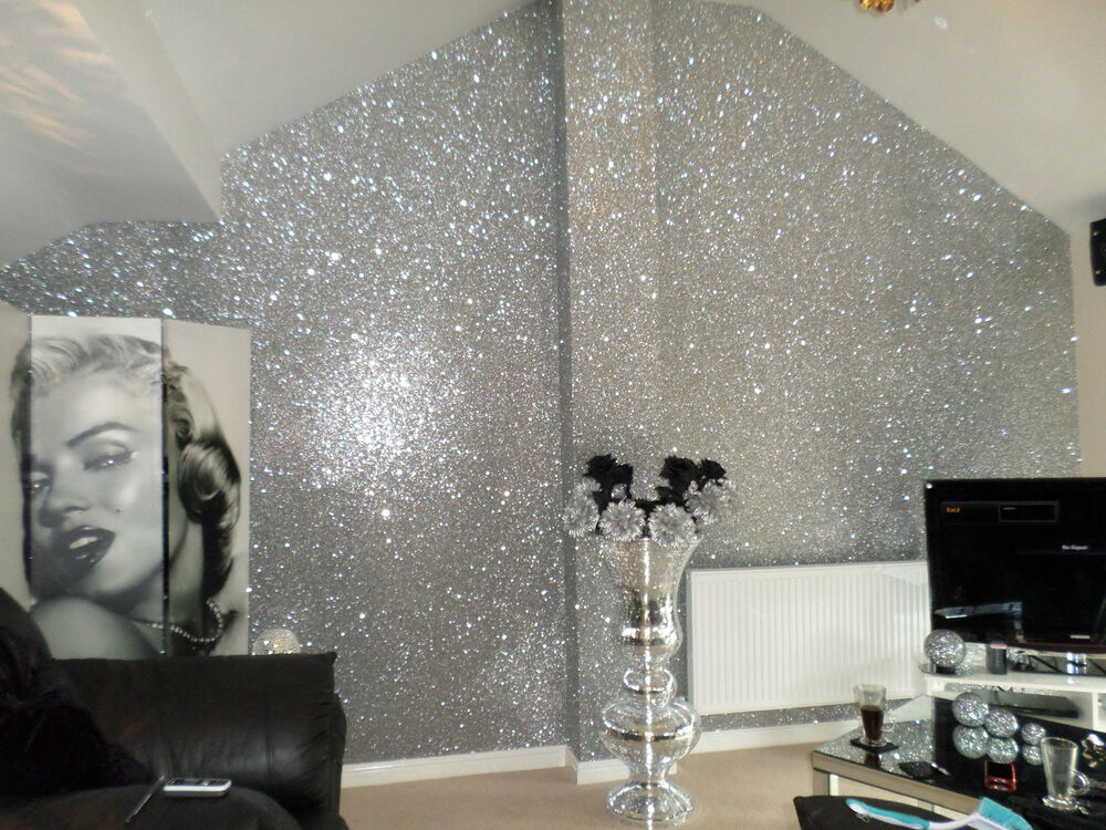 Glitter wallpaper chunky fabric gold silver black for Wallpaper glitter home