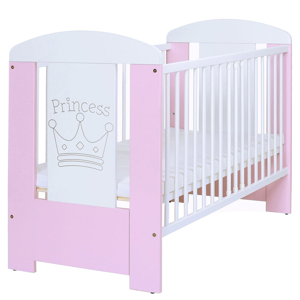 baby kinderbett prinzessin 120x60 holz gitter komplettzimmer matratze weiss rosa ebay. Black Bedroom Furniture Sets. Home Design Ideas