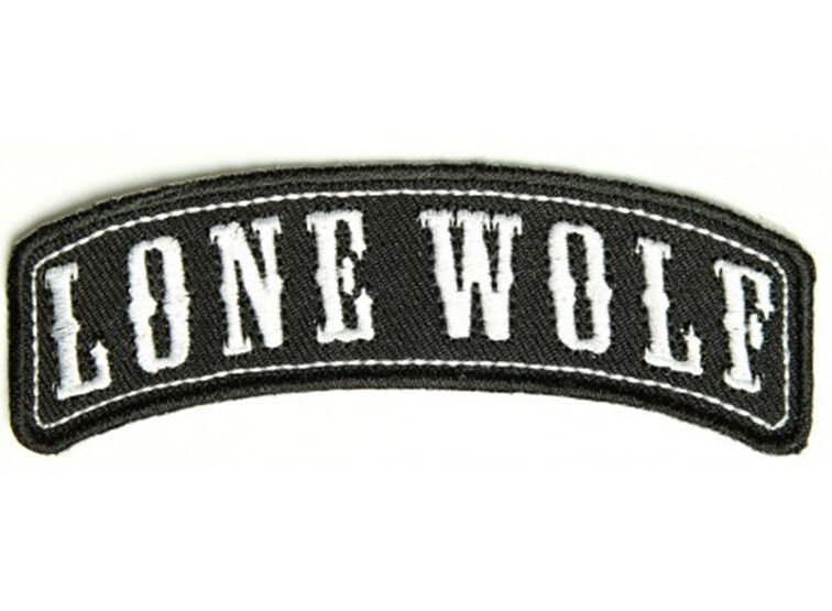 Lone wolf embroidered jacket vest rocker patch funny