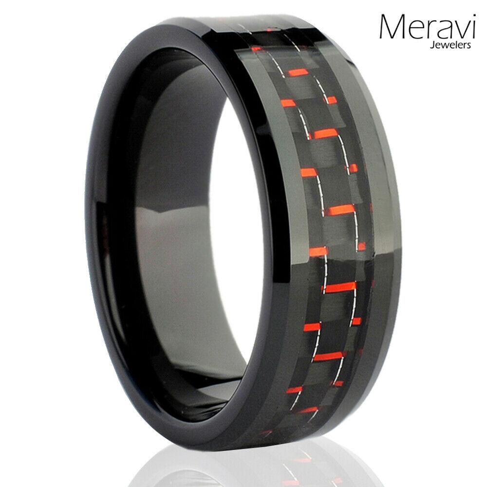 Black tungsten carbide men39s jewelry red carbon fiber for Carbon fibre wedding ring