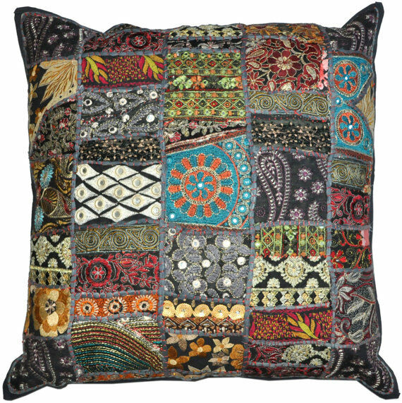24 X 24 Throw Pillow Cushion For Couch Indian Decorative