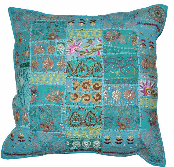 decorative throw pillow covers couch pillows sofa toss bed 24x24 inch patchwork ebay. Black Bedroom Furniture Sets. Home Design Ideas