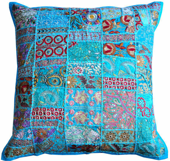 "24x24"" Turquoise Decorative throw Pillows for couch bed"