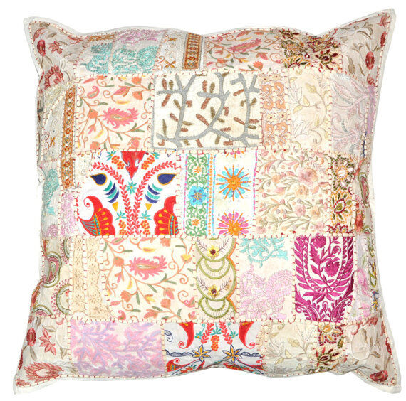 24x24 xl white yoga decorative patchwork throw pillow for Sofa cushion covers 24x24
