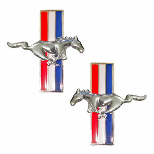 2 Mustang Running Horse Chrome Pony Tri Bar Emblems Side