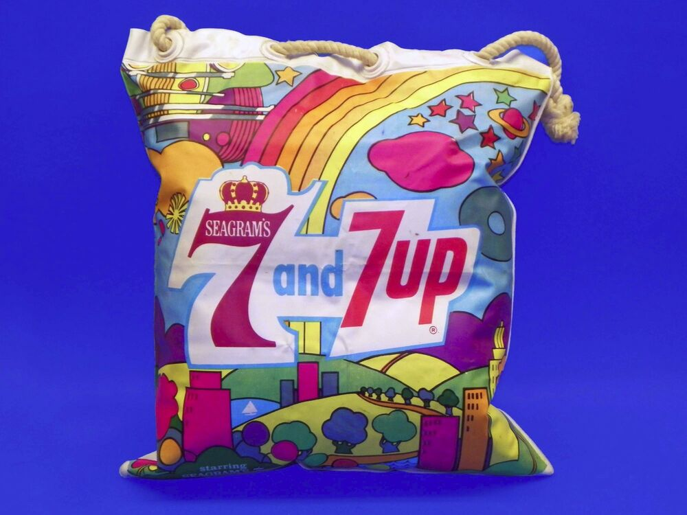 Vintage 1960s 7-Up 7Up Seagrams 7 Vinyl Blow Up Pillow Bag ... Peter Max 60s
