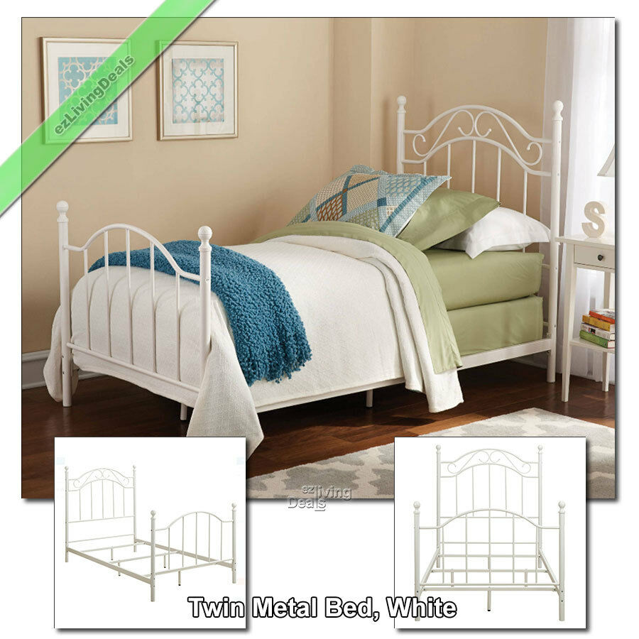 Twin Metal Bed Frame For Girls Boys Kids Dorm Bedroom