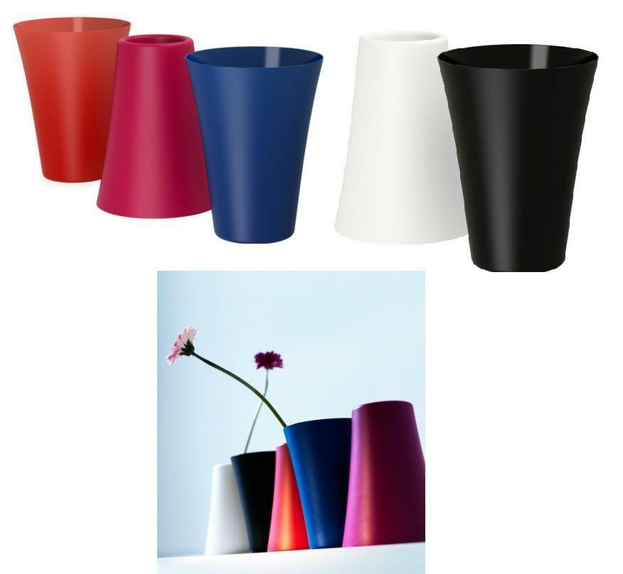 New ikea ovanlig flower vase black white dark pink blue red colours - Vase cylindrique ikea ...