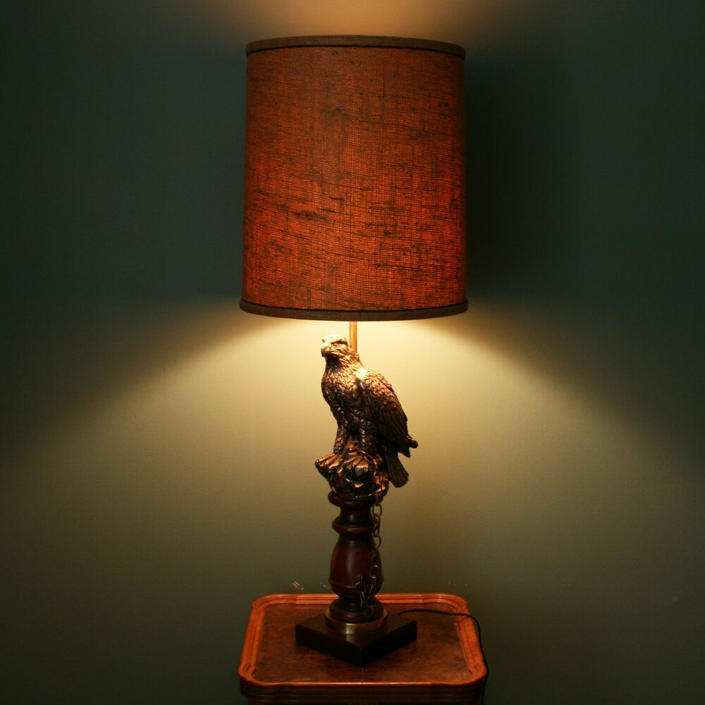 Vtg 38 Quot Falcon Tethered Chain Bird Brass Amp Wood Table Lamp