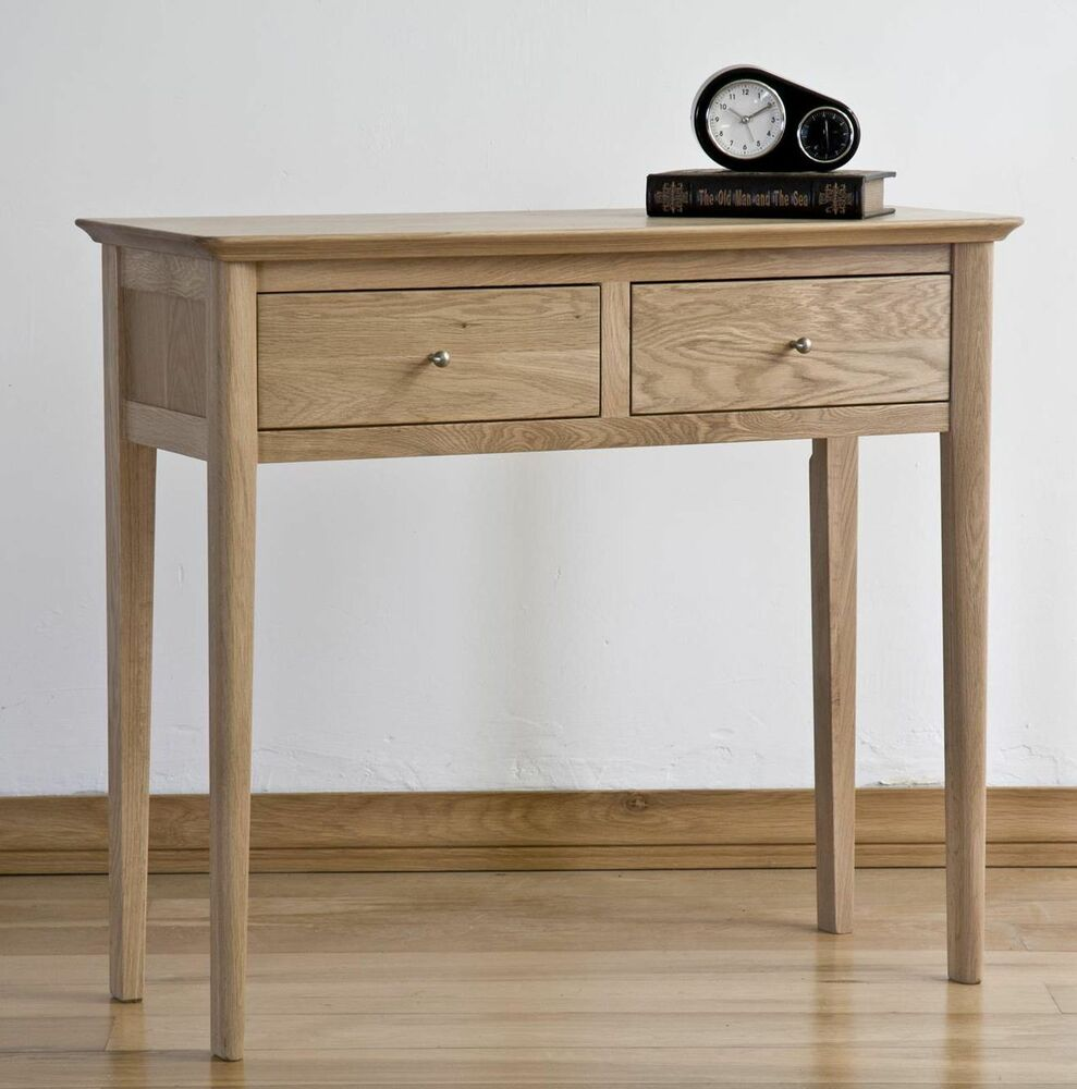 Moray solid oak hallway furniture two drawer console hall