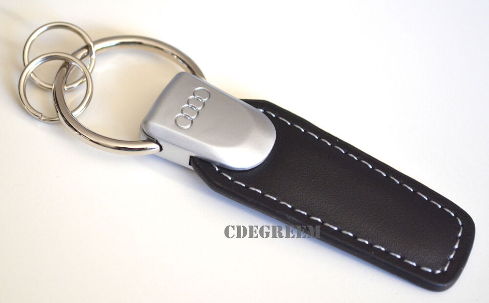Audi Badge Genuine Black Leather Keychain Easy Open 6 A8
