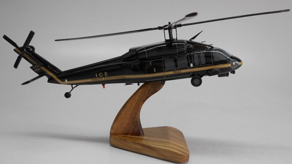 60 a immigration customs helicopter dried wood model small new ebay