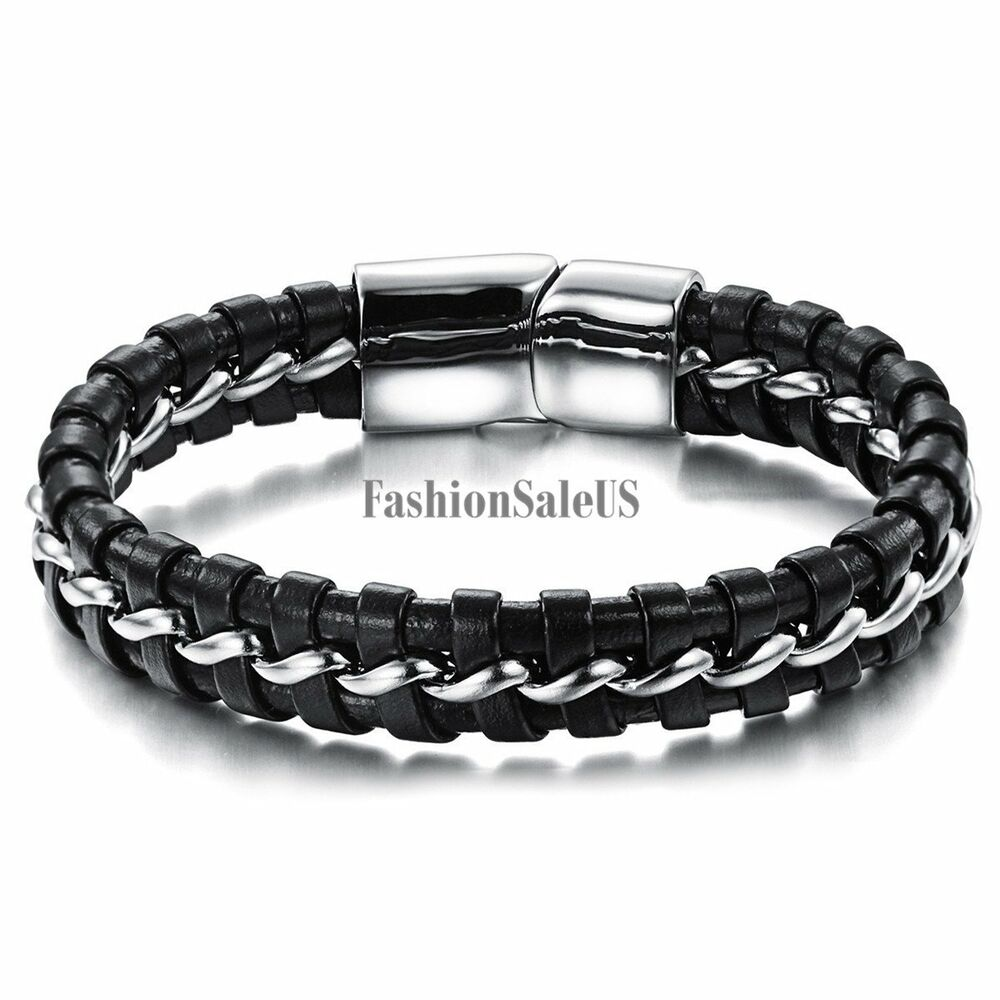 Black leather silver tone stainless steel braided men s