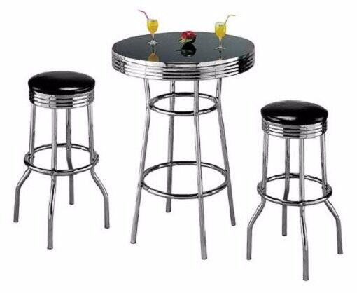 retro 3 piece chrome bar stools and table set ebay