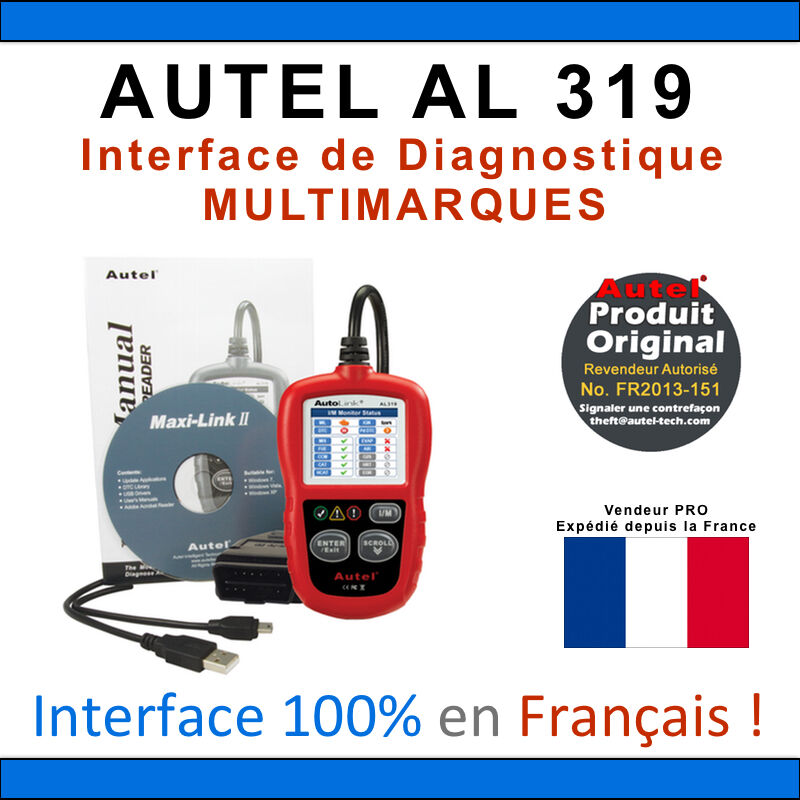 interface diagnostique auto multimarques autel autolink al319 valise diag obd2 ebay. Black Bedroom Furniture Sets. Home Design Ideas