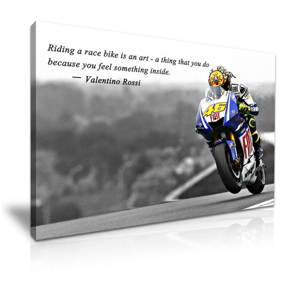 valentino rossi moto gp quote canvas wall art picture print 76cmx50cm ebay. Black Bedroom Furniture Sets. Home Design Ideas