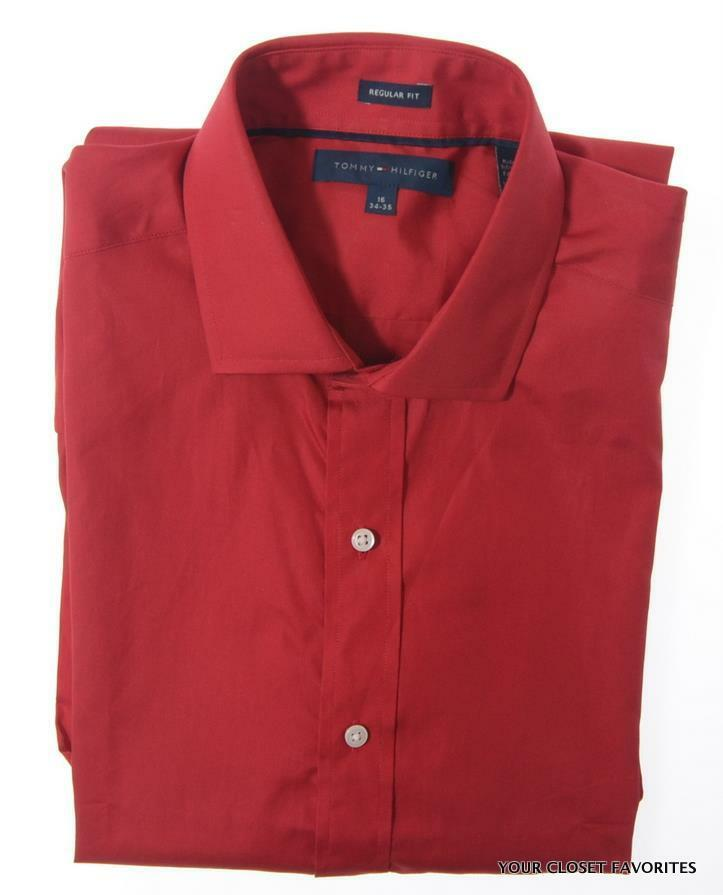 Tommy hilfiger mens regular fit solid red dress shirt long sleeved button down ebay for Mens red button up dress shirt