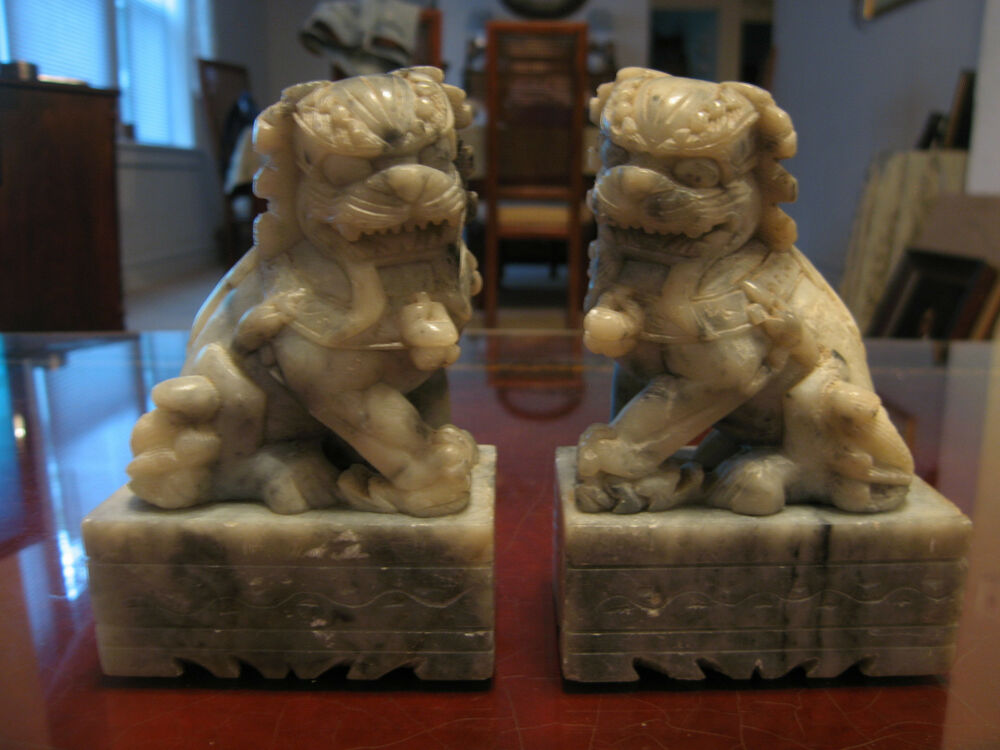 Vintage Antique Chinese Marble Or Soapstone Carved Pair Of