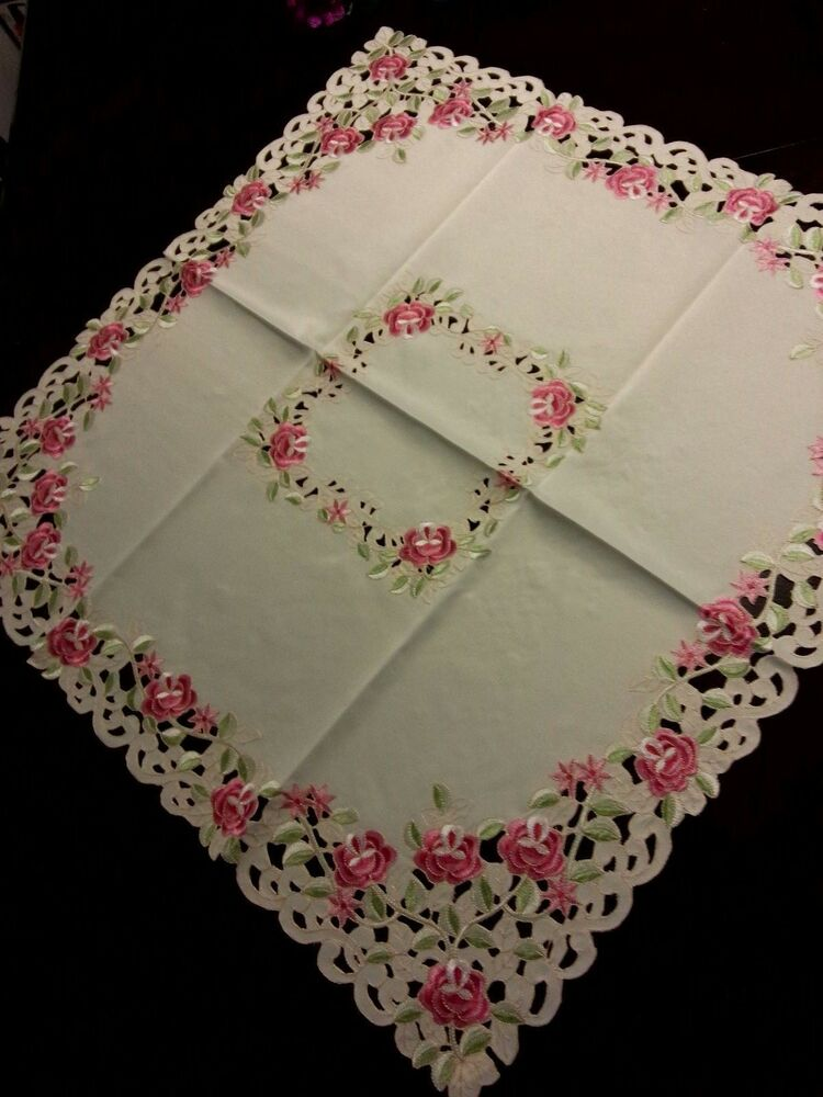 33 Quot X33 Quot Square Embroidered Pink Floral Cutwork Tablecloth