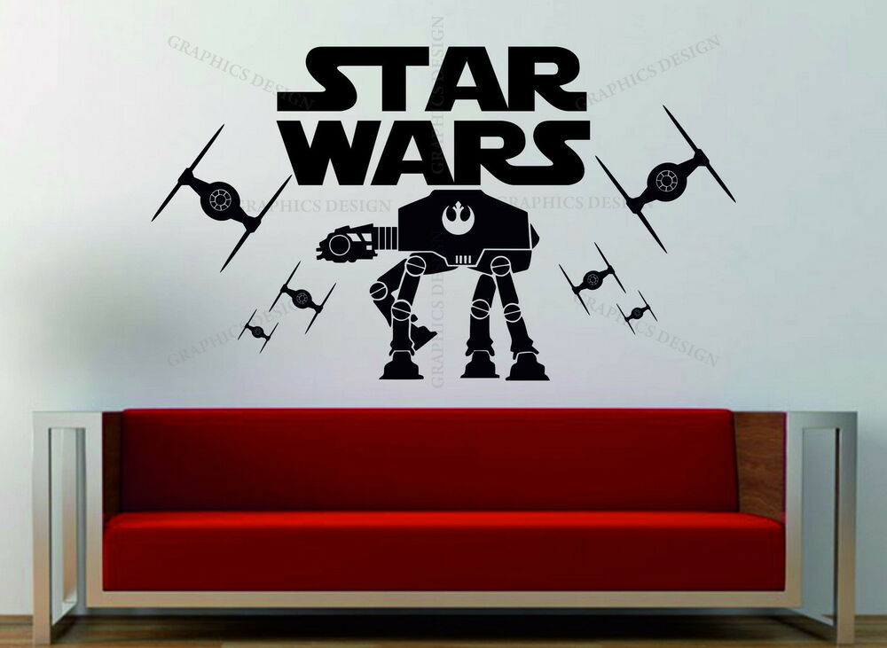 star wars tie fighter imperial at at decorative art vinyl wall sticker decal ebay. Black Bedroom Furniture Sets. Home Design Ideas
