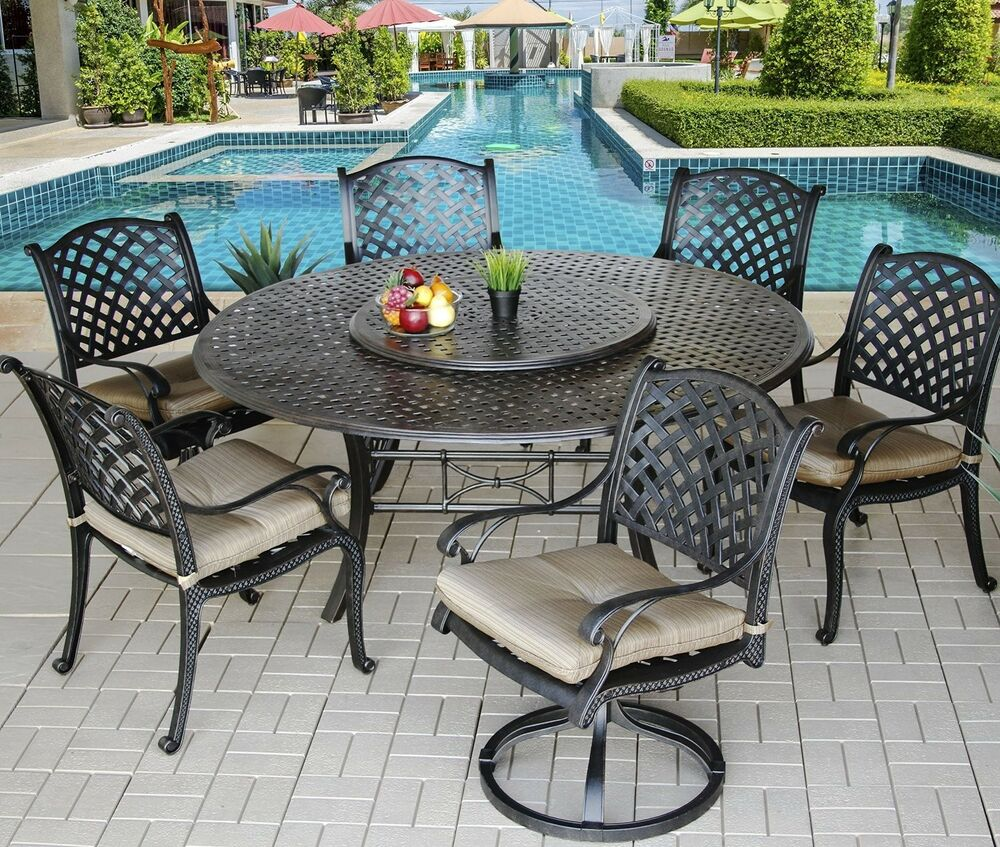 Patio Furniture Round Table Set: 7 Piece For 6 Cast Aluminum Nassau Outdoor Patio Dining