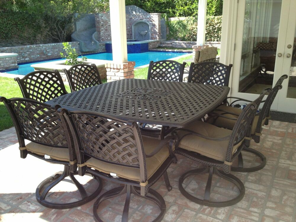 9 piece for 8 cast aluminum outdoor patio square dining for Metal patio table and chairs set
