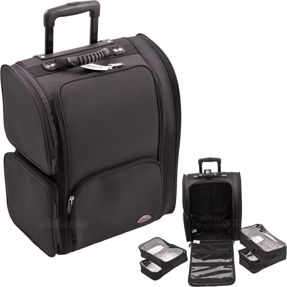 2 wheel rolling soft makeup case luggage travel organizer 4 pouches carry on bag ebay. Black Bedroom Furniture Sets. Home Design Ideas
