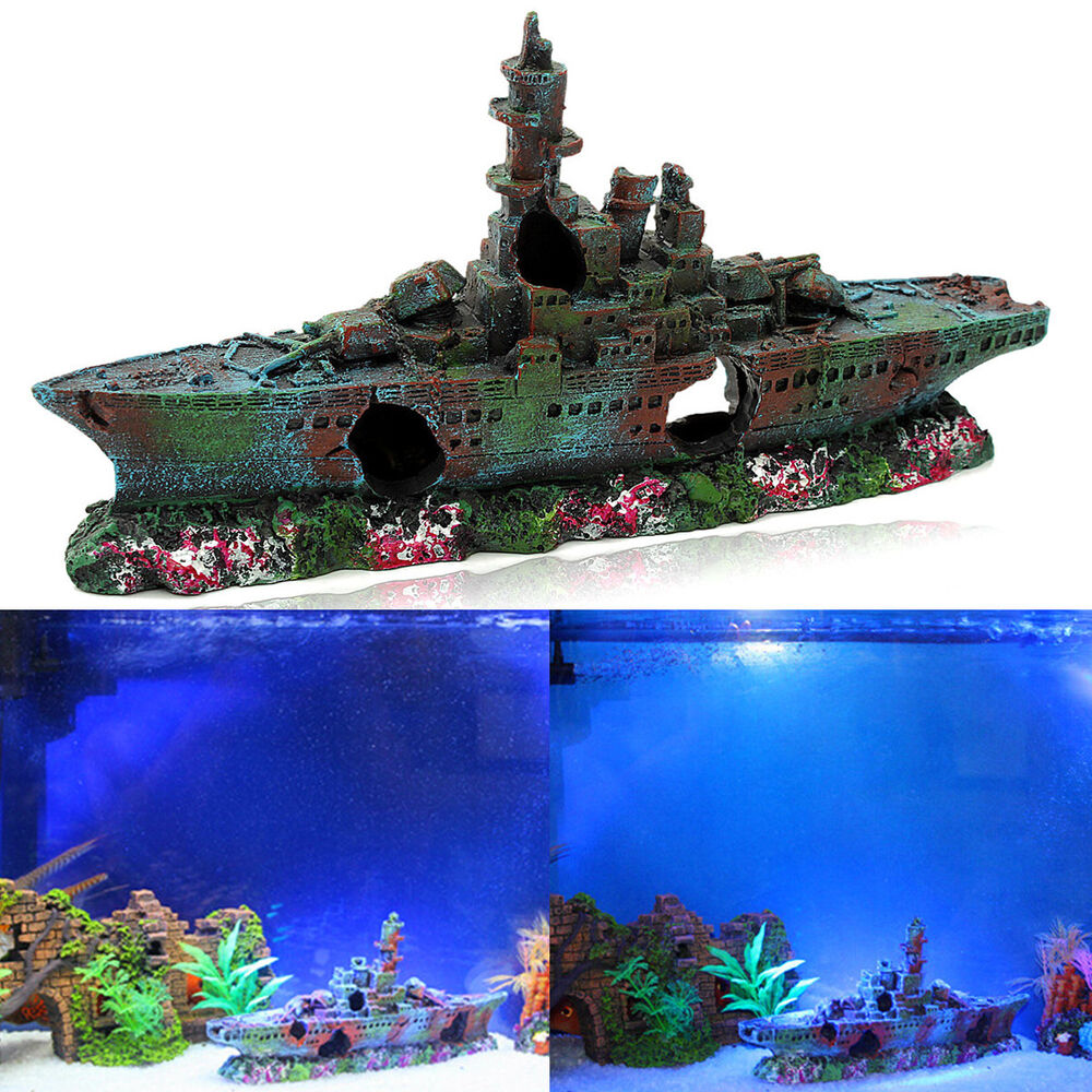 Resin wreck sailing boat vessel decor fish tank aquarium for Fish tank decoration