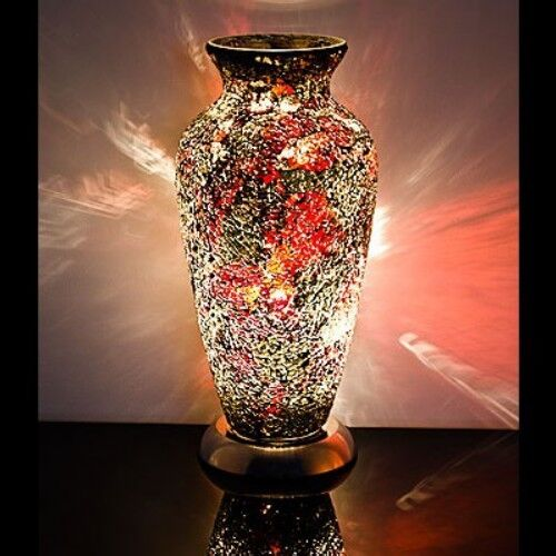 Fabulous Mosaic Glass Crackle Gold And Crimson Vase Lamp