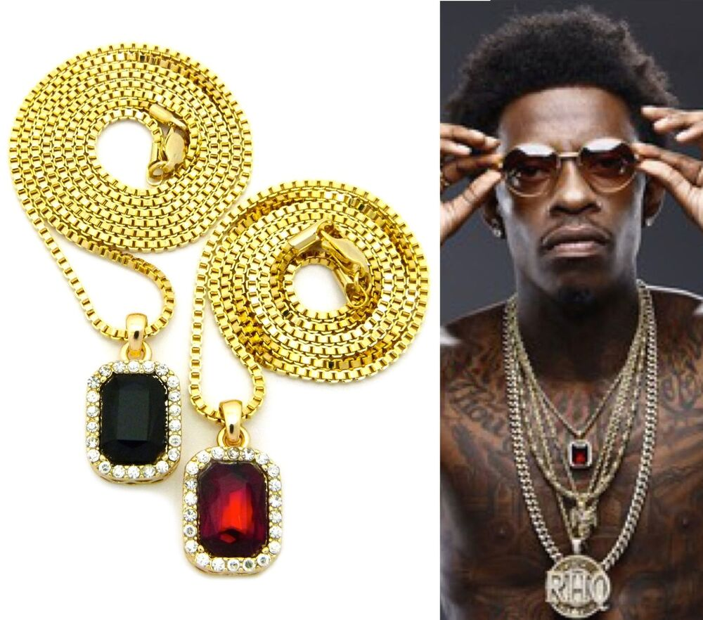 mens iced out hip hop gold ruby black onyx pendant