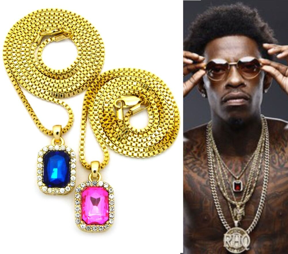 Mens iced out hip hop gold ruby blue pink stone pendant box chain mens iced out hip hop gold ruby blue pink stone pendant box chain necklace set ebay mozeypictures Choice Image