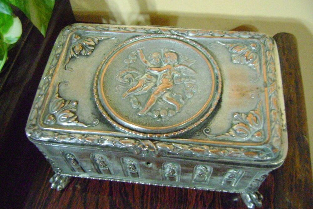 antique important copper silver plated jewelry box with