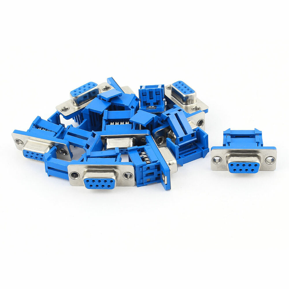 10pcs D Sub Db9 9 Pin Female Idc Crimp Adapter Connector