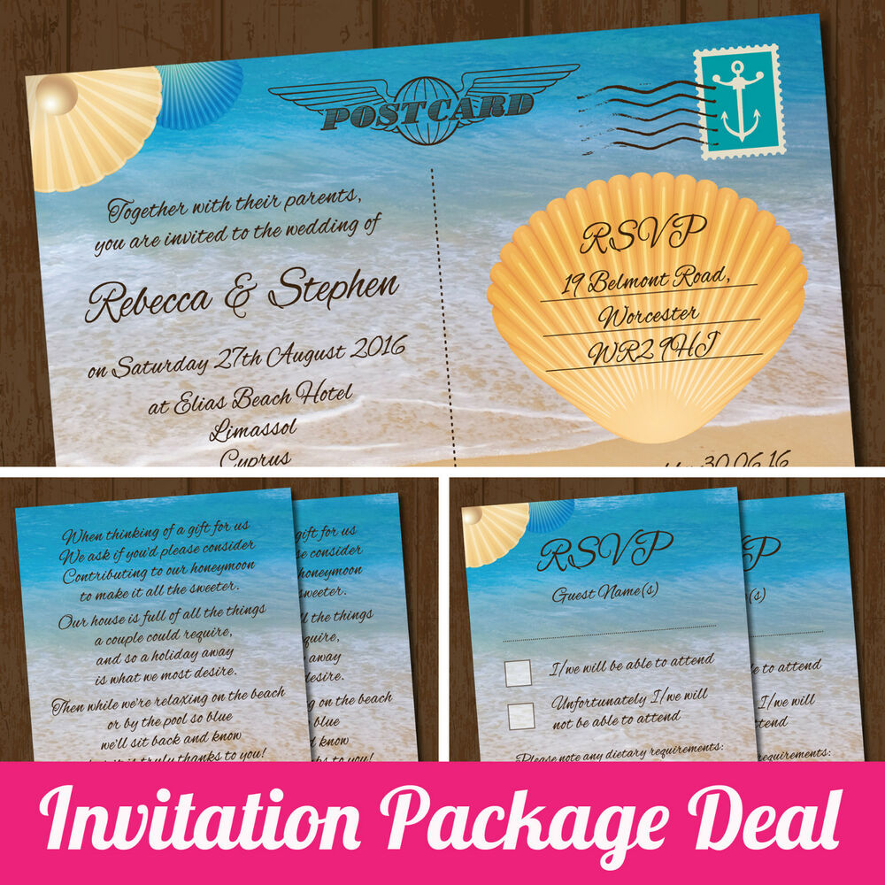 Package Deal Wedding Invitation RSVP Card Amp Gift Poem Card Seaside Beach
