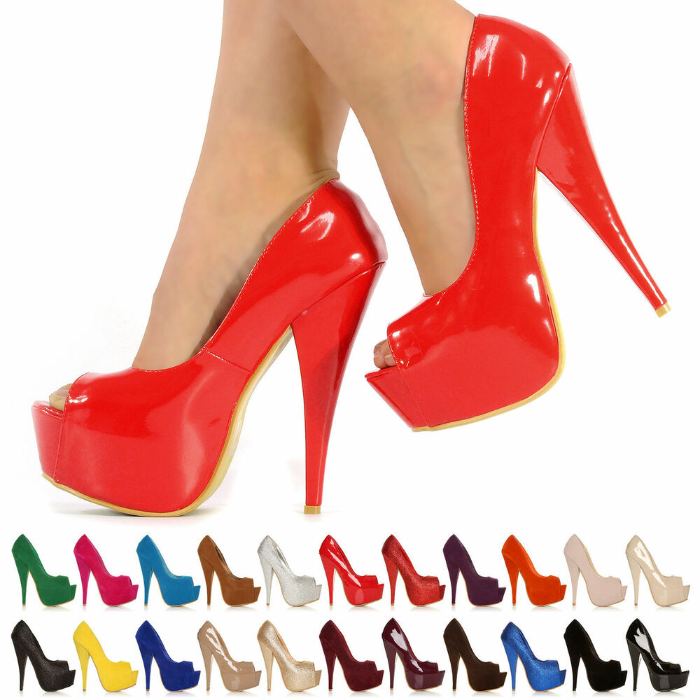 new ladies womens fashion high heels party platform peeptoe shoes size 3 8 ebay. Black Bedroom Furniture Sets. Home Design Ideas