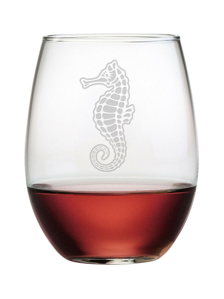 Stemless wine glasses seahorse set of 4 unique hand made for Hand designed wine glasses