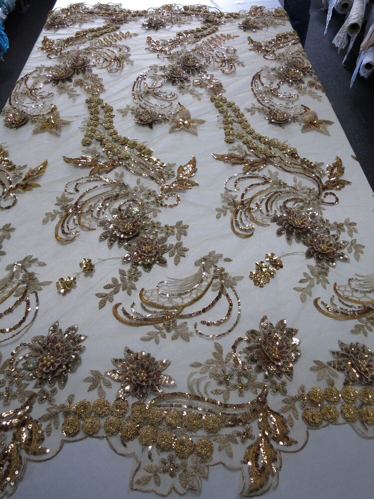 bronze mesh w embroidery beaded lace sequins fabric