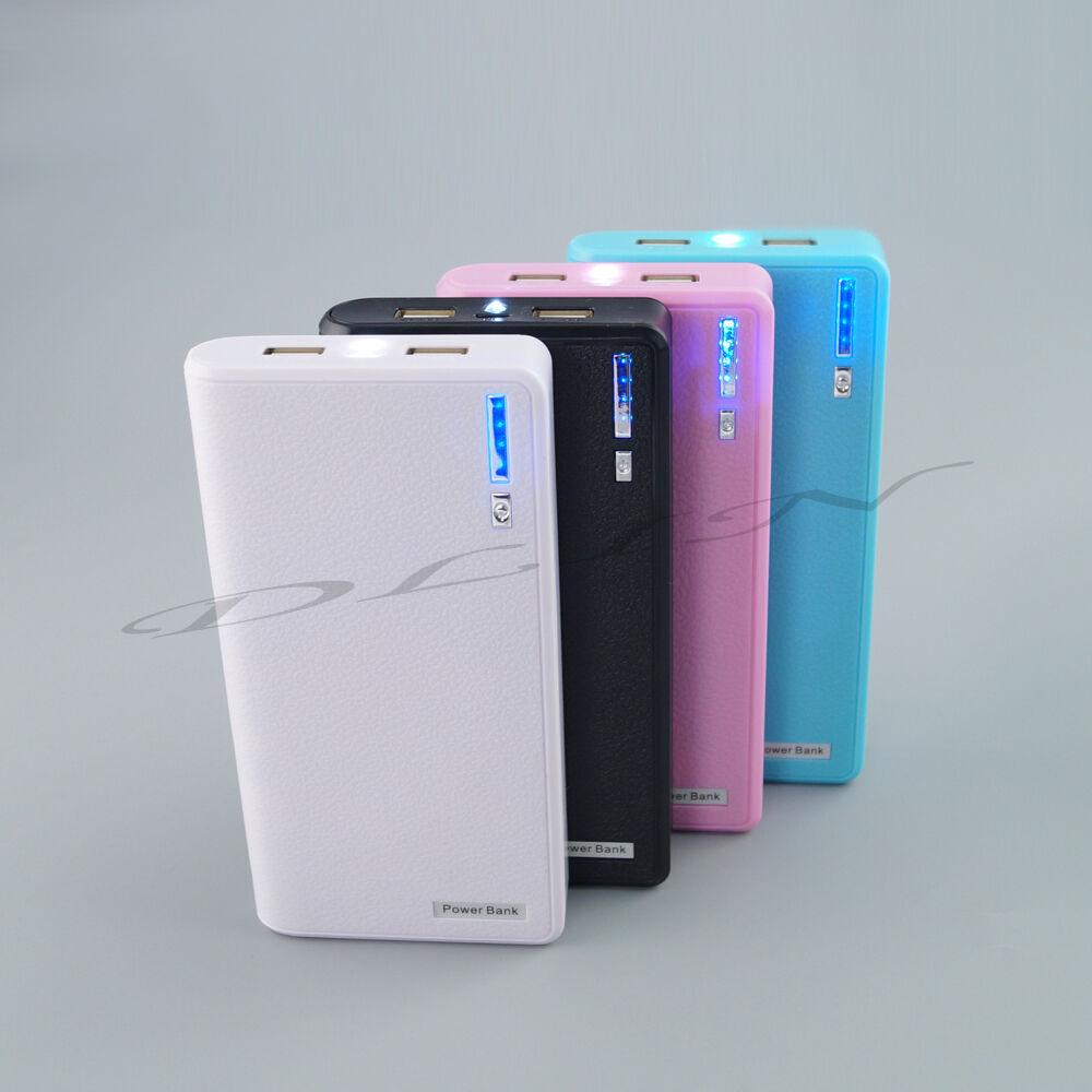 Blue 20000mah Portable Mobile Power Bank Dual Usb Battery