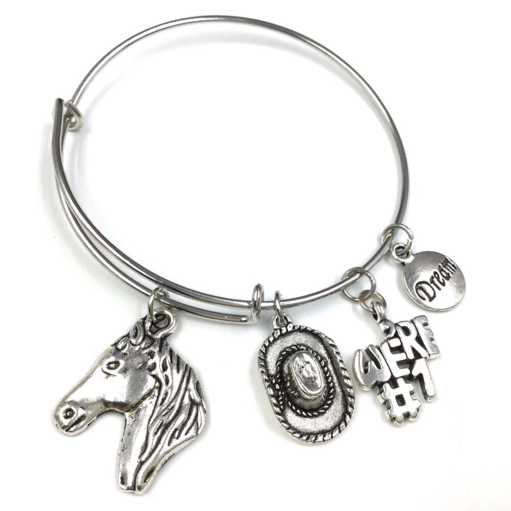Wire Bangle Charm Bracelet: Adjustable Wire Bangle Silver Plated Charm Bracelet Horse