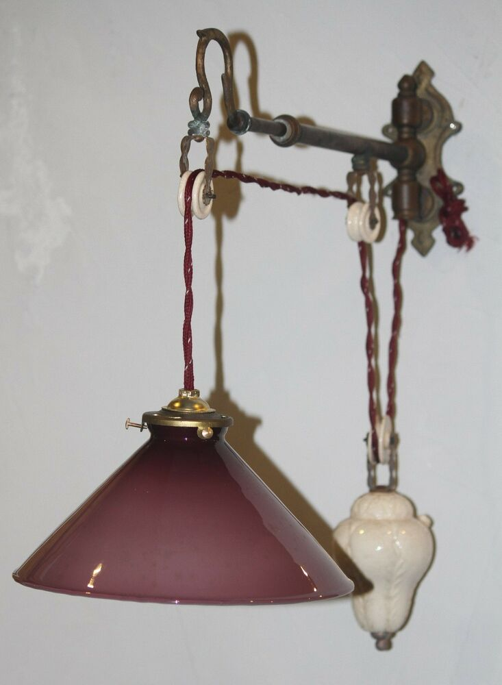 Pulley Pendant Light Vintage Articulating Adjustable Rise