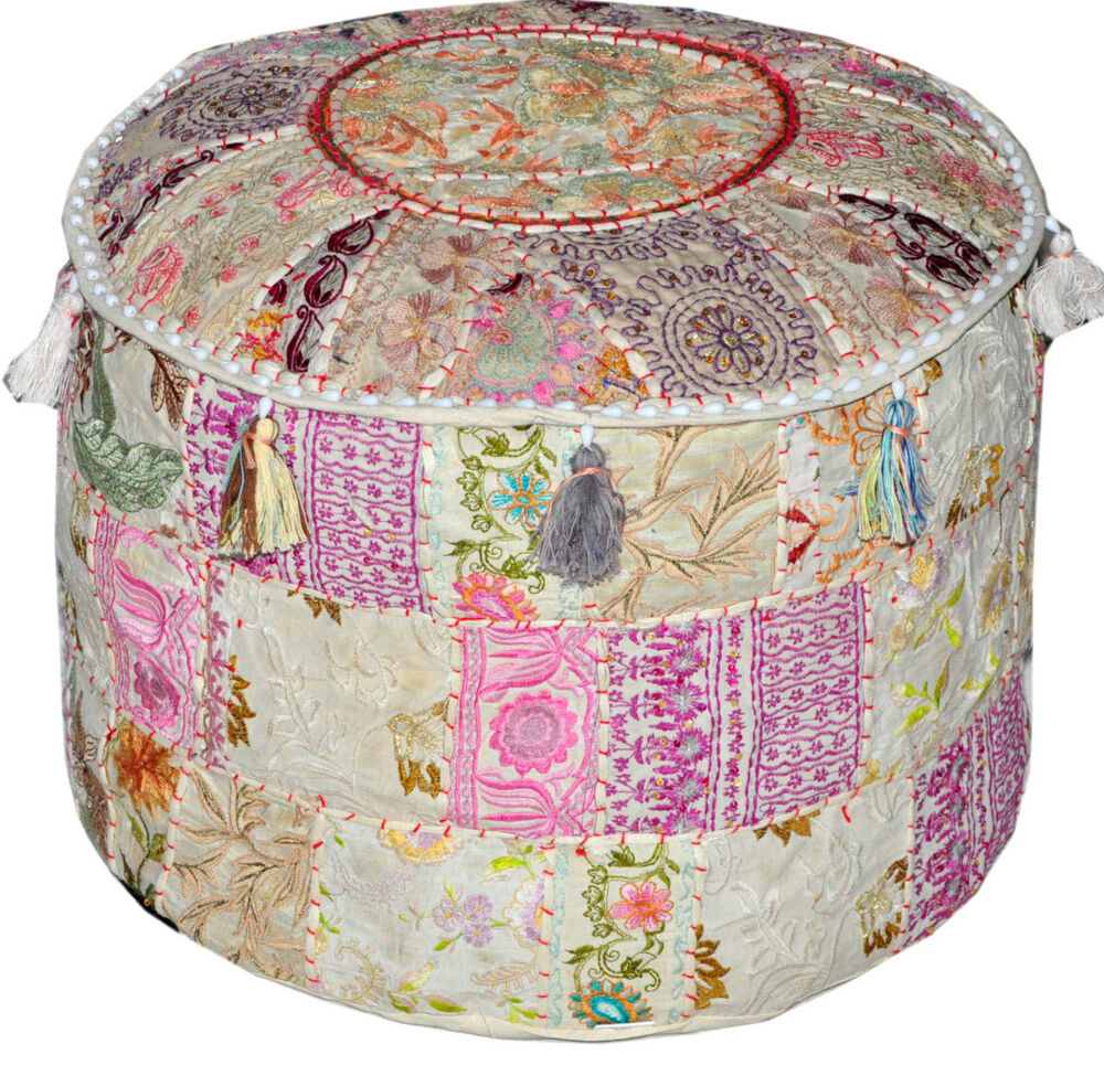 white Bohemian Vintage Patchwork Indian Pouf Embroidered ...