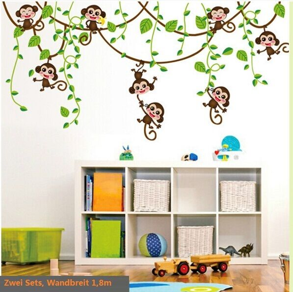 wandtattoo affe schaukel affen wandaufkleber kinderzimmer wand sticker deko ebay. Black Bedroom Furniture Sets. Home Design Ideas