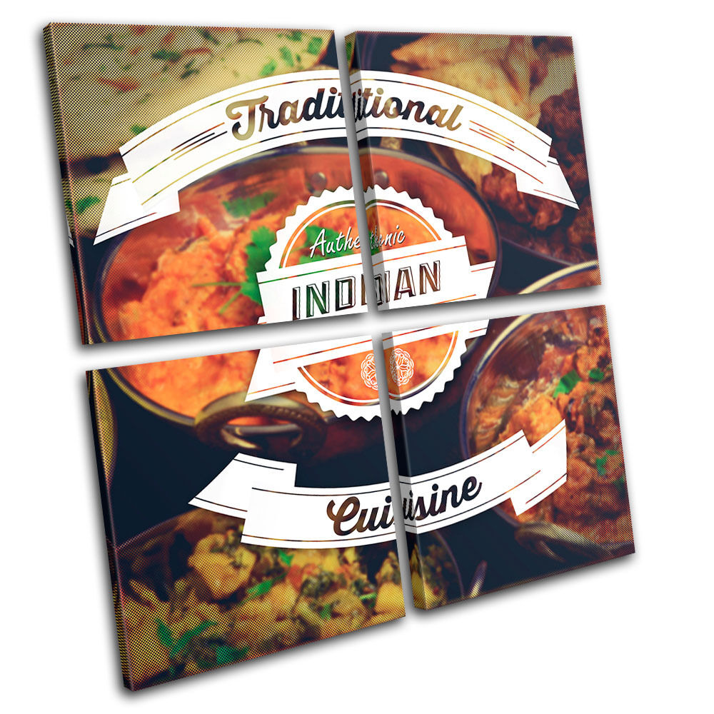 Indian typography food kitchen multi canvas wall art for Art of indian cuisine
