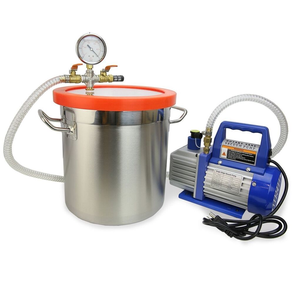 2 Gallon Vacuum Chamber and 3 CFM Single Stage Pump to ...