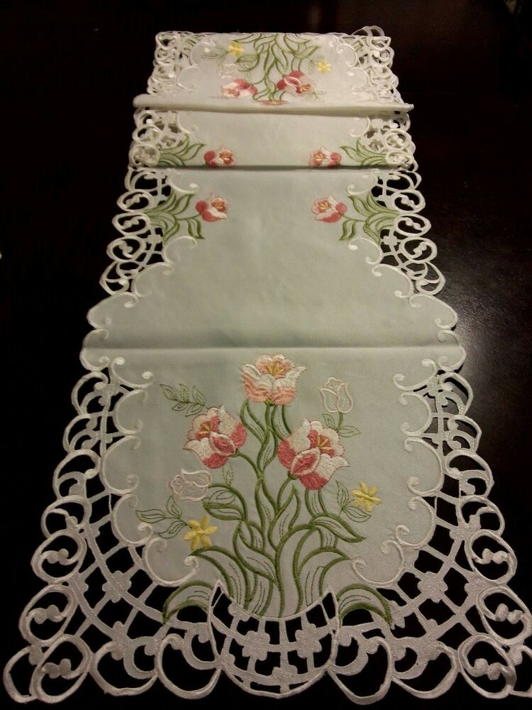 15 Quot X69 Quot Embroidered Table Runner Pink Tulip Floral Cutwork