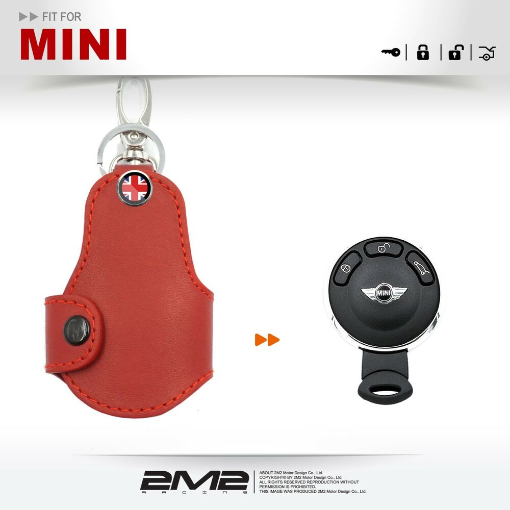 mn037g leather key fob holder case chain cover fit for mini one cooper s r55 r59 ebay. Black Bedroom Furniture Sets. Home Design Ideas